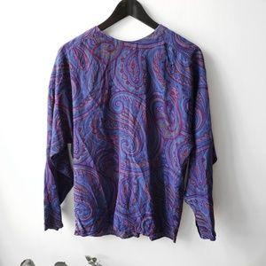 Vintage Silk Drape Paisley Dolman Blouse
